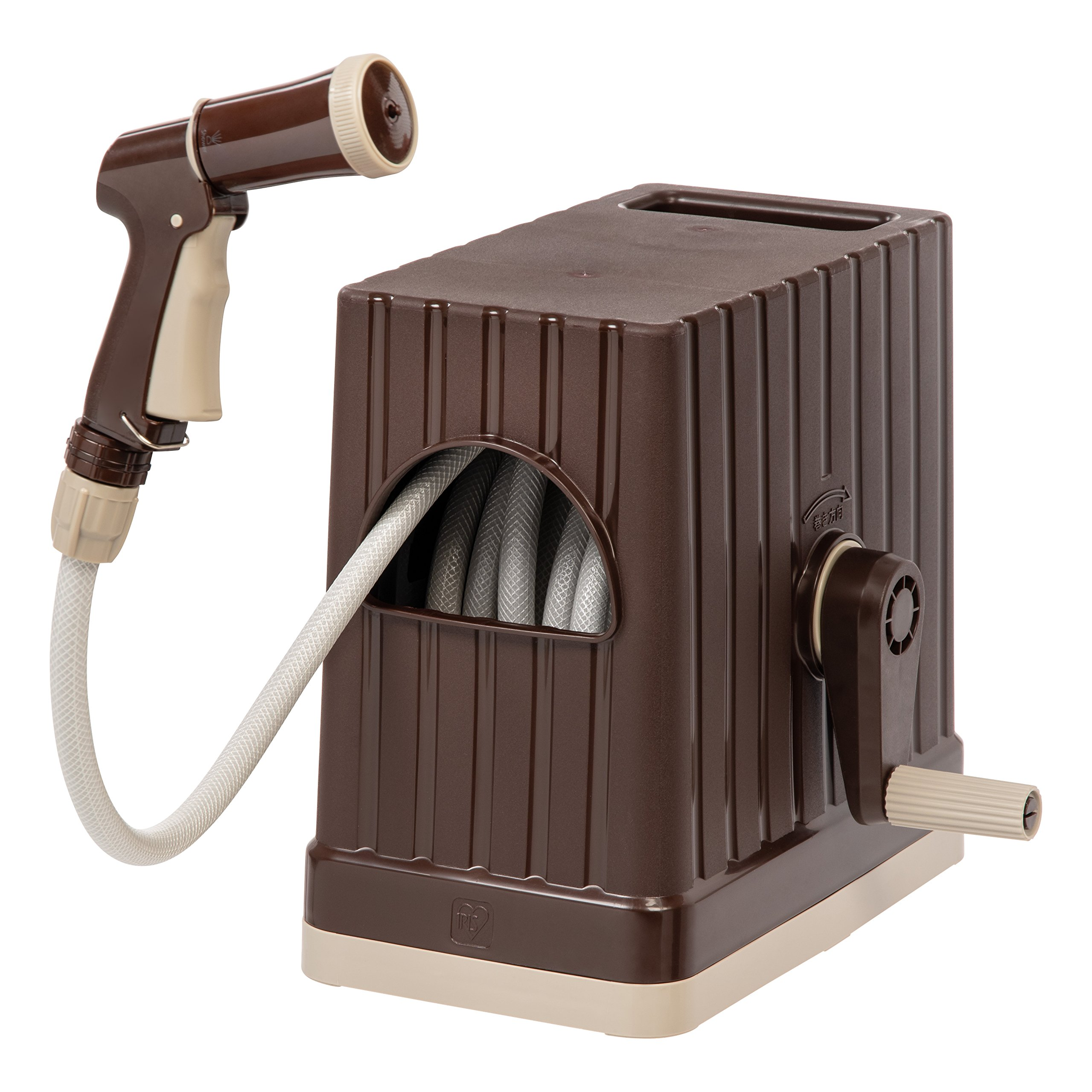 IRIS USA, Inc. FHEX-15 Hose Reel Set, Hose with Nozzle, 48 ft, Brown