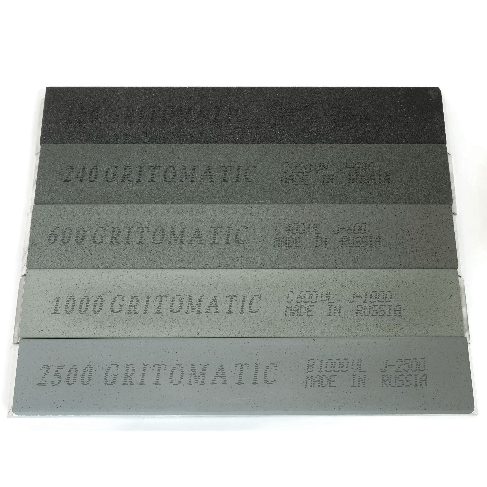 Gritomatic Silicon Carbide 6'' x 1'' x 0.25'' Sharpening Stone Set with Aluminum Mounting for Edge Pro (5 stones)
