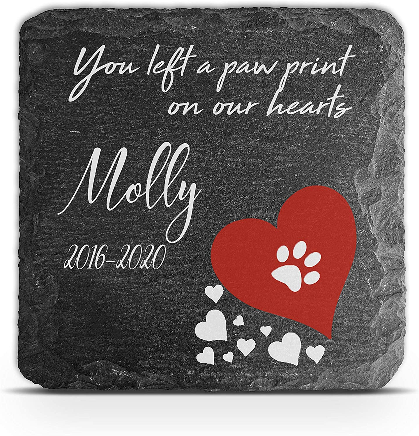 You have left my life/… TULLUN Personalised Memorial Plaque For Pet Cat Dog Slate Stone Frame Paw Grave Marker Size 100 x 100 mm