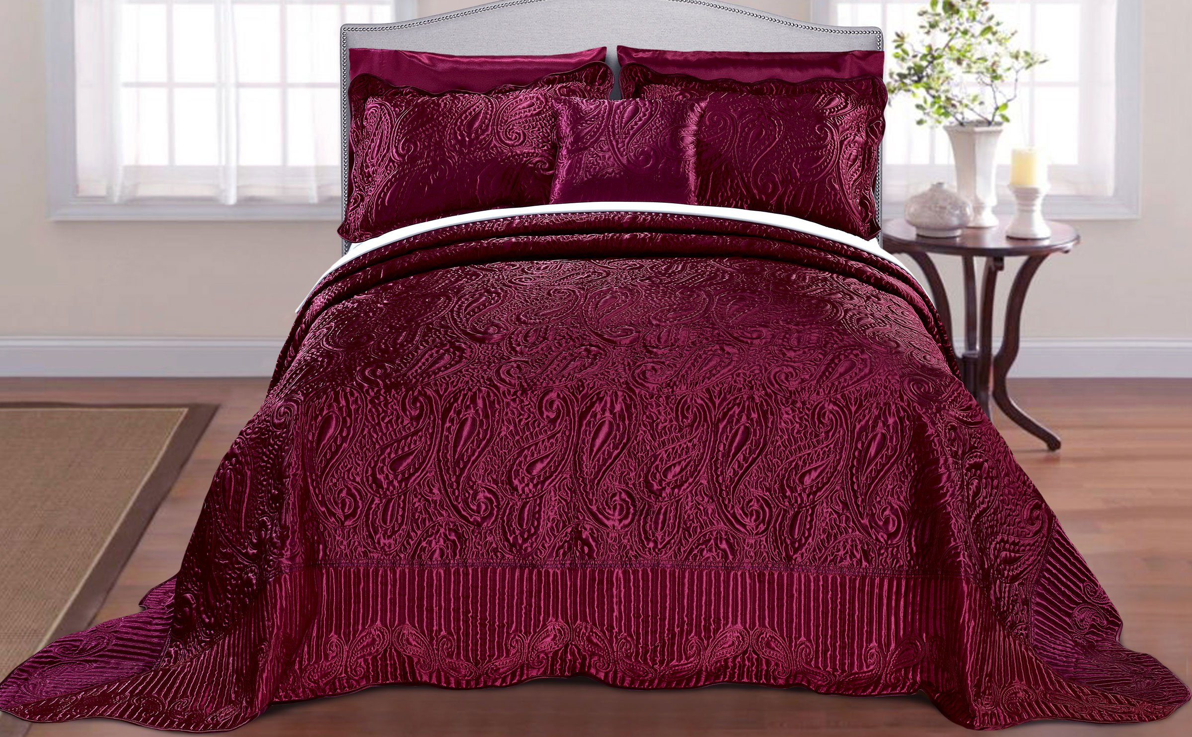 Home Soft Things Serenta Quilted Satin 4 Piece Bedspread Set, King, Burgundy by Home Soft Things (Image #3)