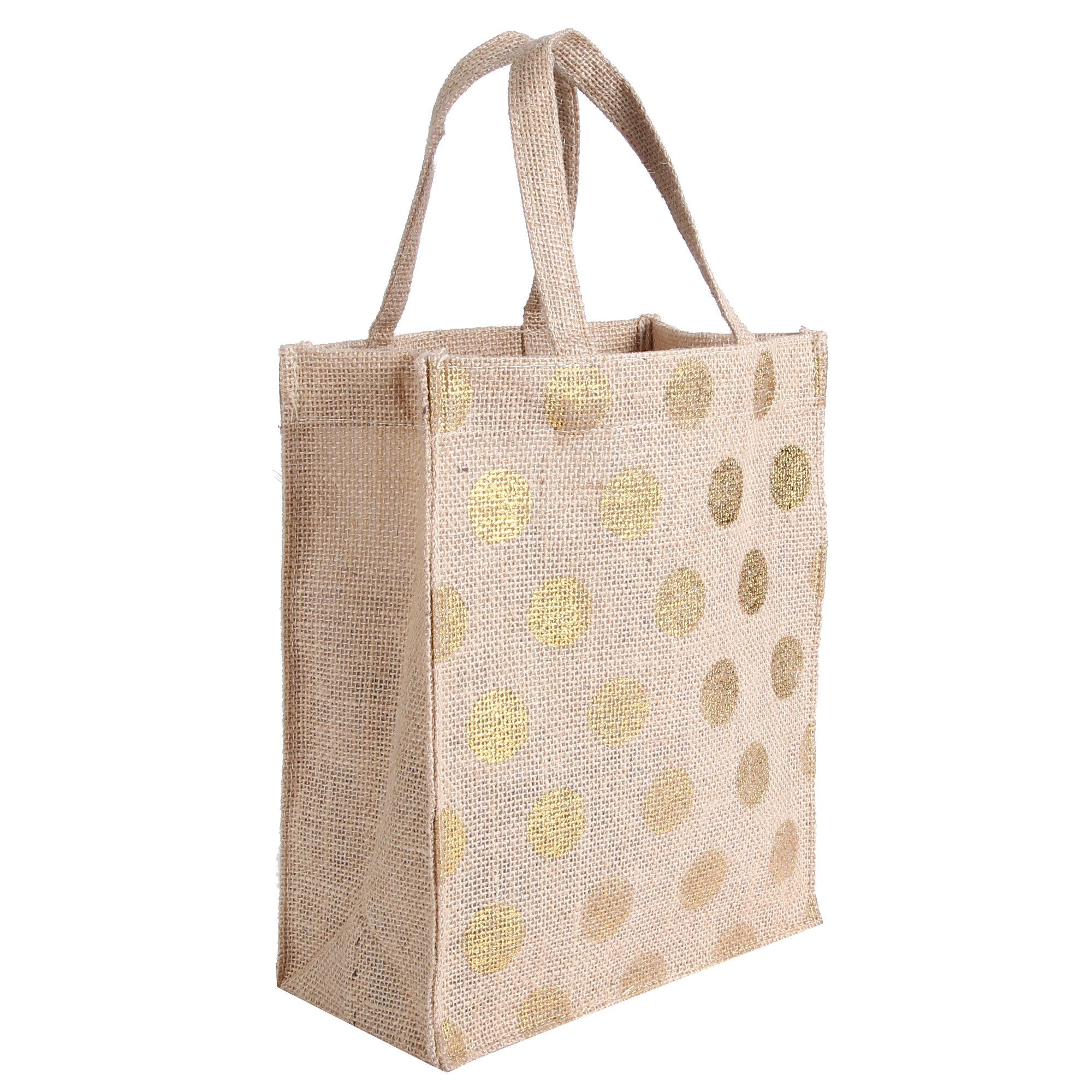 Earthbags - Reusable Natural Jute Gift Bags With Gold Foil Polka Prints (Pack of 4)