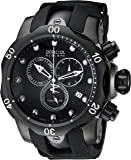 Invicta Men's Reserve Venom 53.7mm Black Stainless Steel Chronograph Quartz Watch with Black Silicone Strap, Black…