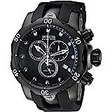 Invicta Men's Reserve Venom 53.7mm Black Stainless Steel Chronograph Quartz Watch with Black Silicone Strap, Black (Model: 60