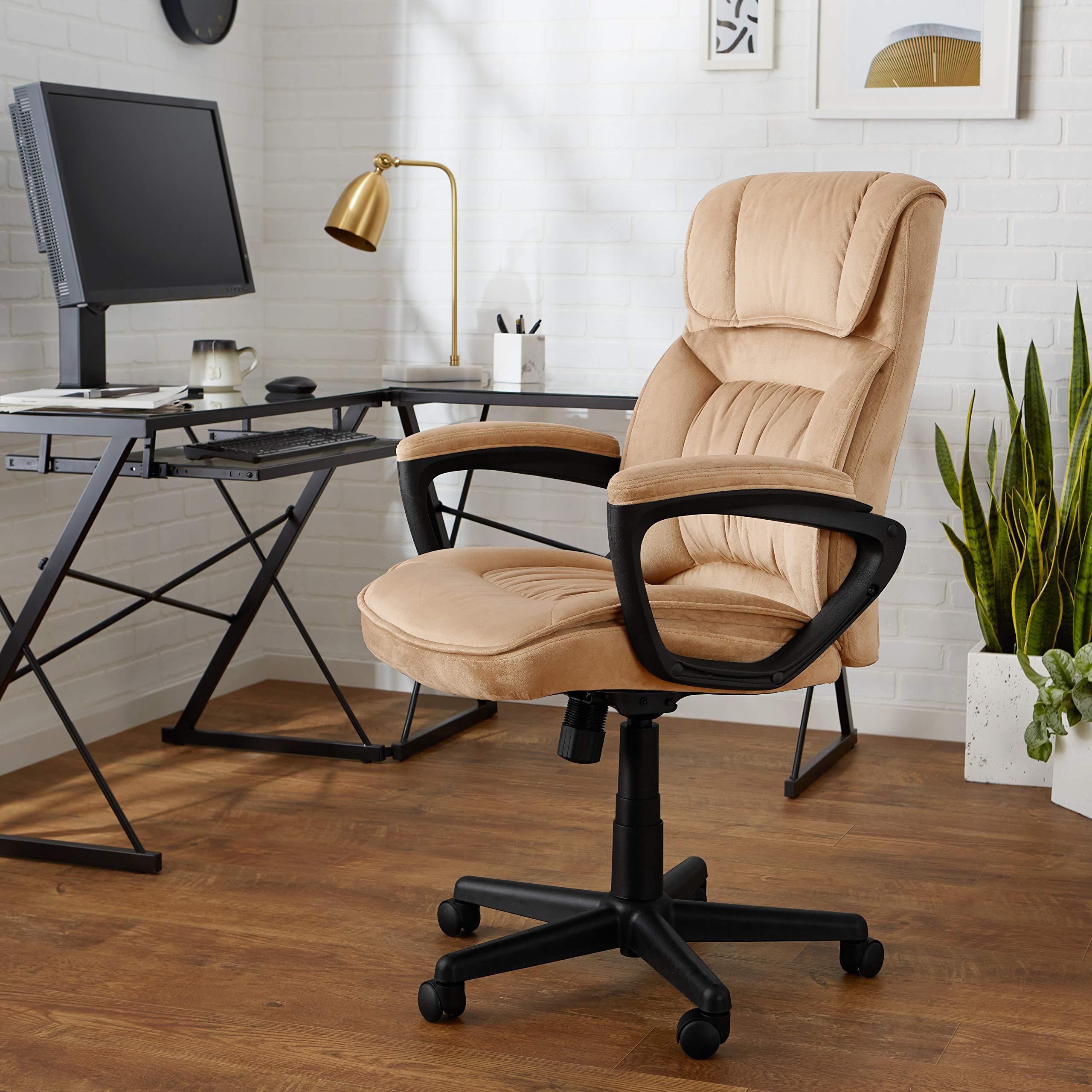 AmazonBasics Classic Office Chair - Adjustable, Swiveling, Microfiber Cover - Light Beige by AmazonBasics (Image #3)
