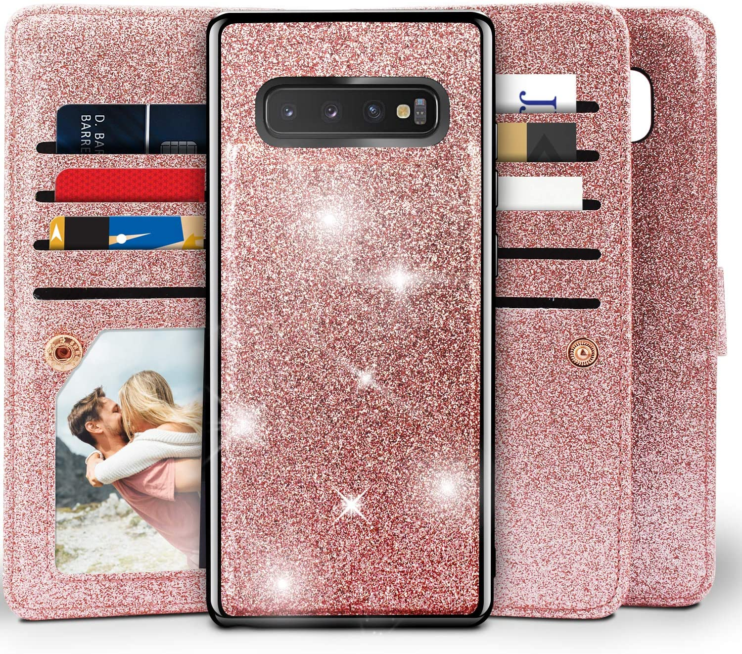 Miss Arts Galaxy S10 Plus Wallet Case, Detachable Magnetic Slim Case with Car Mount Holder, 9 Card/Cash Slots, Magnet Clip, Wrist Strap, PU Leather Cover for Samsung Galaxy S10 Plus -Rose Gold