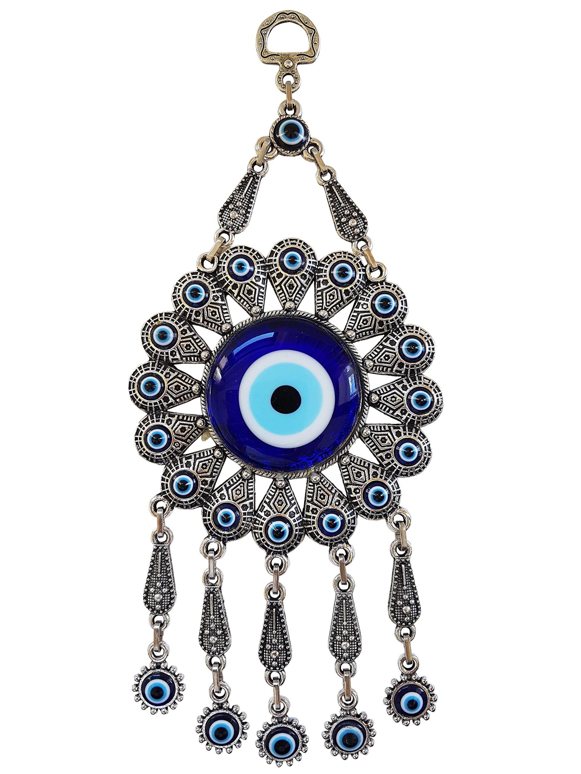 Bead Global Turkish Glass Flower Design Blue Evil Eye Wall