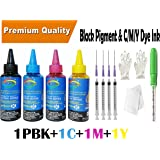 GoColor Premium Best High Quality Canon Compatible Inkjet Refill Ink 100 ml X 4 Color K/C/M/Y with 4nos syringe and needles for refilling cartridge & CISS for accurate printing.