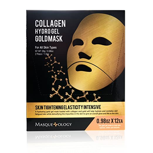 Masqueology - Collagen Hydro Gel Gold Mask | Skin Tightening, Firming, and Anti-Aging Skincare Face Mask (12 Pack)