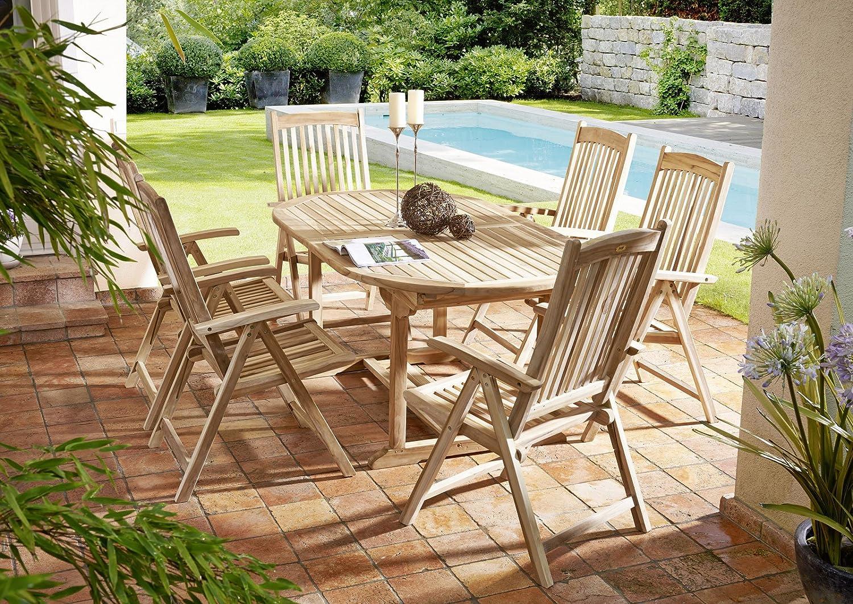 SAM® Teak-Holz Garten-Gruppe, Gartenmöbel Aruba 7tlg, bestehend aus 1 x Tisch + 6 x Stuhl, zusammenklappbare Stühle, leicht zu verstauen