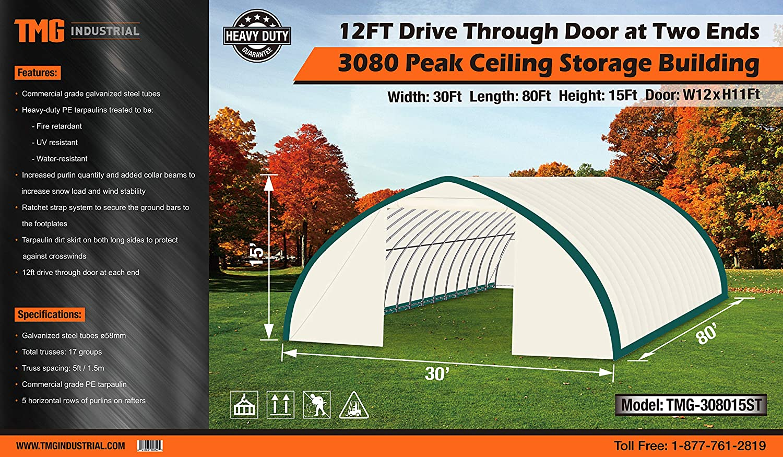 TMG Industrial 30 x 80 Peak Ceiling Storage Building with 12 Drive Through Doors at Both Ends