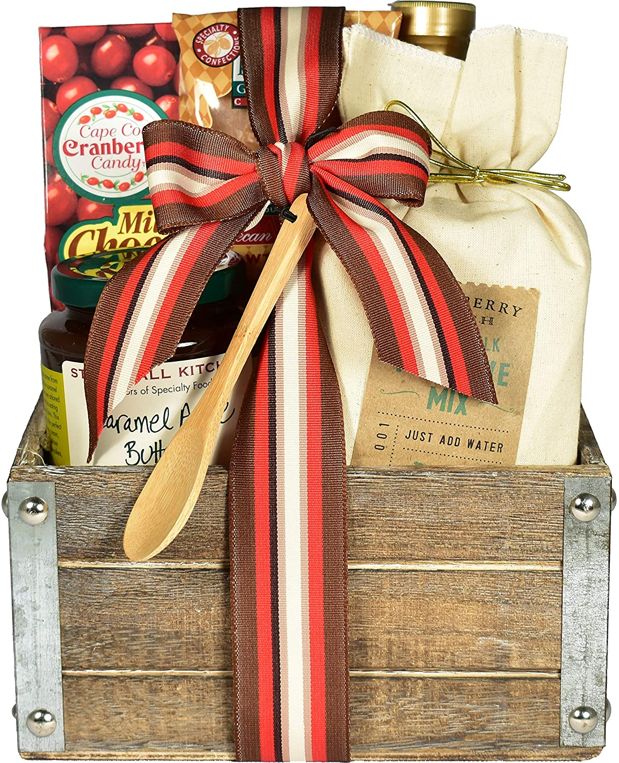 Gift Basket Village Downhome Breakfast Gift Pack - Breakfast GIft in Old Fashion Wooden Box with Pancake Mix, Gourmet Toppings and Breakfast Dessert
