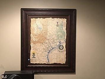 1836 Framed Texas Revolutionary Map, Texas Art, Texas Map, Rustic Art