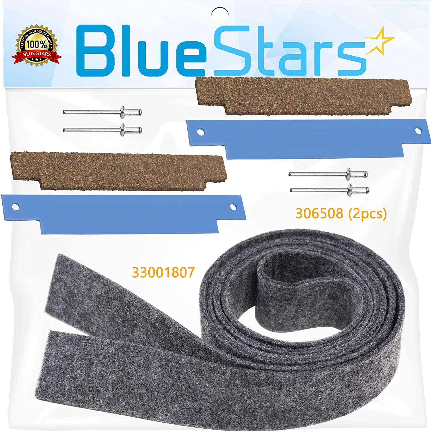 Ultra Durable 33001807 & 306508 Dryer Drum Felt Seal With Tumbler Bearing Kit by Blue Stars - Exact Fit for Whirlpool & Kenmore Dryers - Replaces WP33001807 306508VP PS1804752 AP4037304