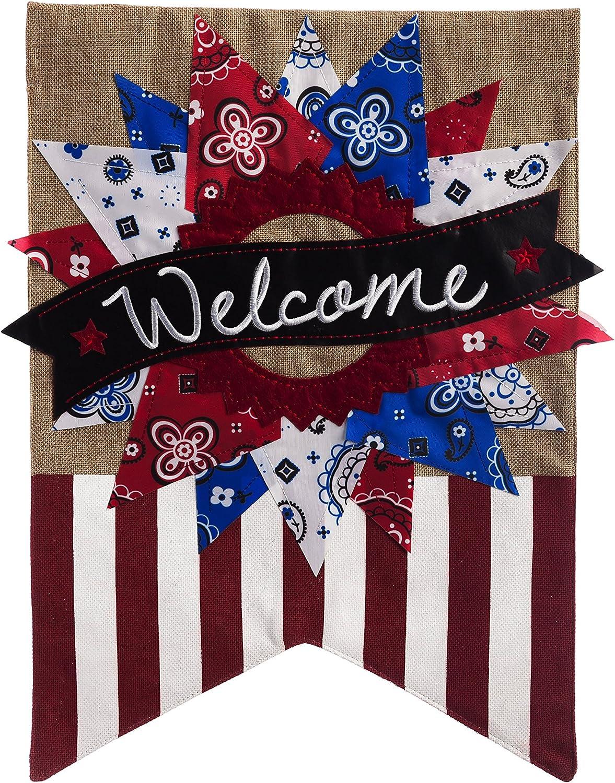 Patriotic Banner Welcome Garden Flag