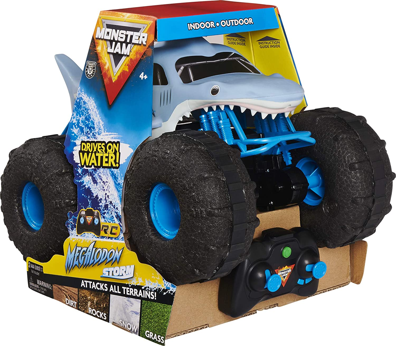 Monster Jam Megalodon Storm - Camión Monstruo con Control Remoto para Todo Terreno, Escala 1:15
