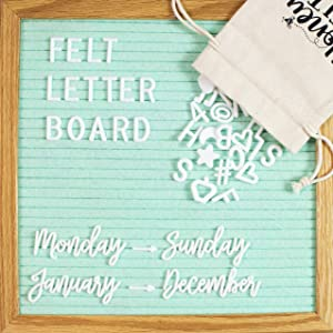 Felt Letter Board 10x10 with Attached Stand, 346 Changeable White Letters, Numbers & Emojis, Storage Bag, Wall Mount Hanger, Wood Oak Frame, Scissors | Home & Office Gifts, Letterboard (Seafoam Green)