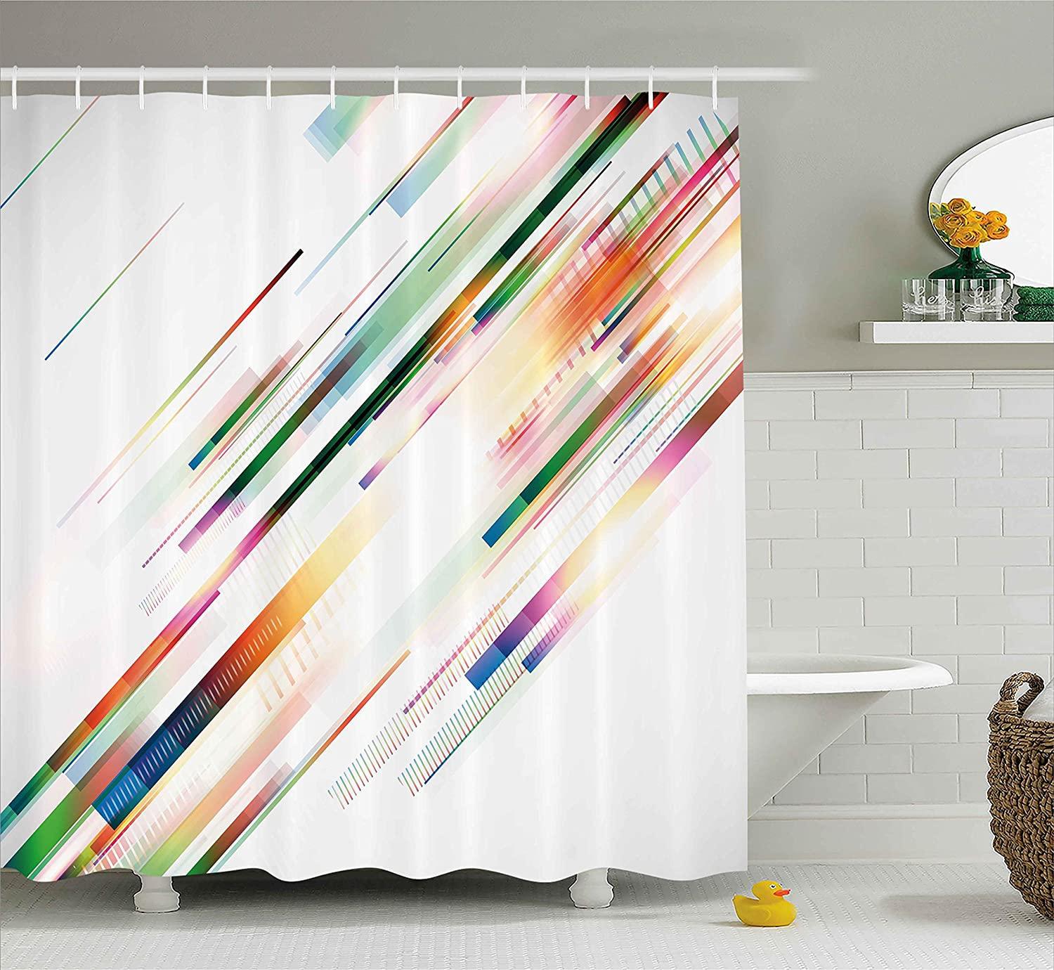 Modern Decor Shower Curtain by Ambesonne, Abstract Seamless Geometric Design with Lines Light Rays Detailed Image, Fabric Bathroom Decor Set with Hooks, 75 Inches Long, Multicolor