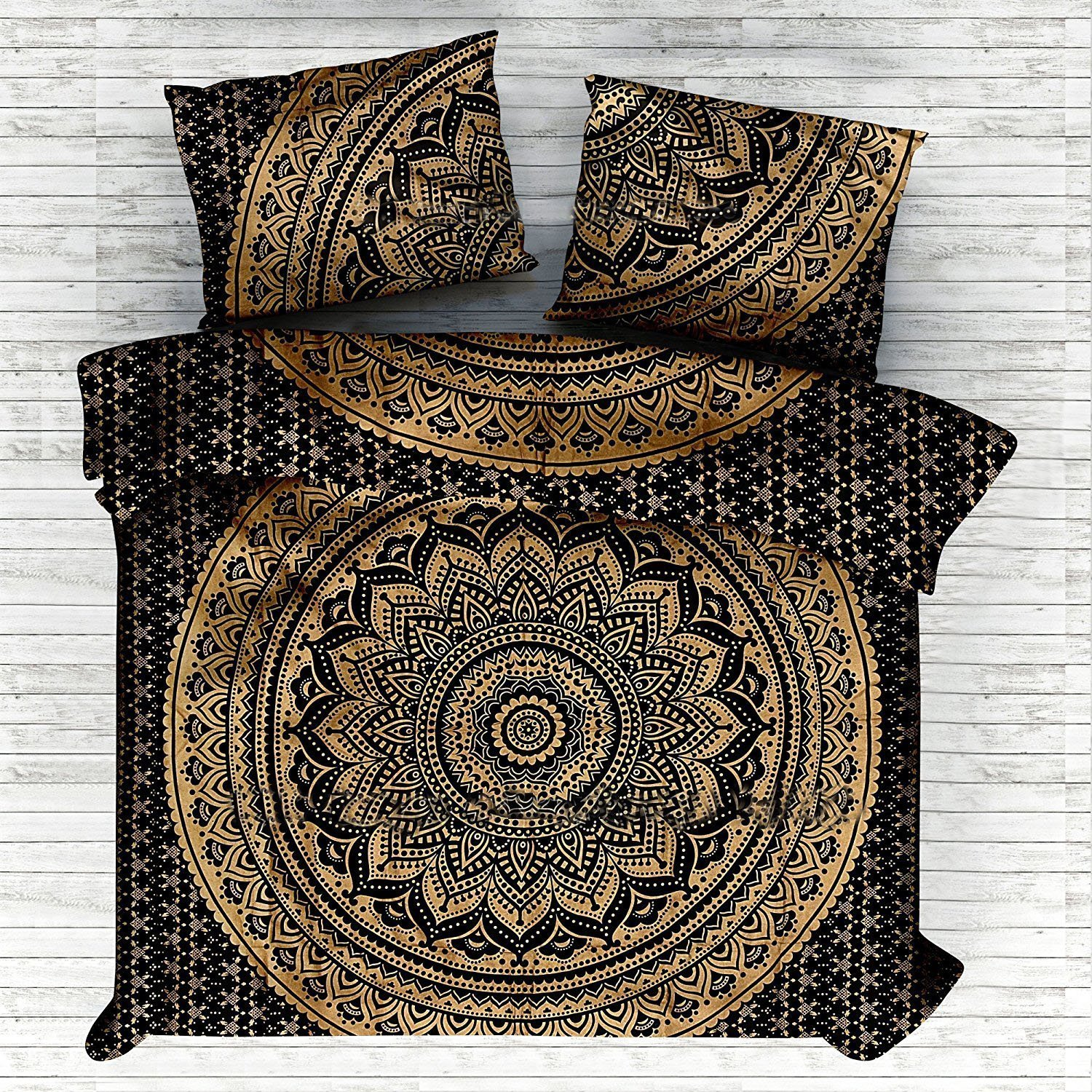Janki Creation Indian Bohemian Mandala Full Size Doona Hippie Boho Cotton Duvet Cover Ombre Mandala Full Size Doona Mandala Hippie Bohemian Full Quilt Cover Set With Pillow ( Black and Gold) by janki creation (Image #1)