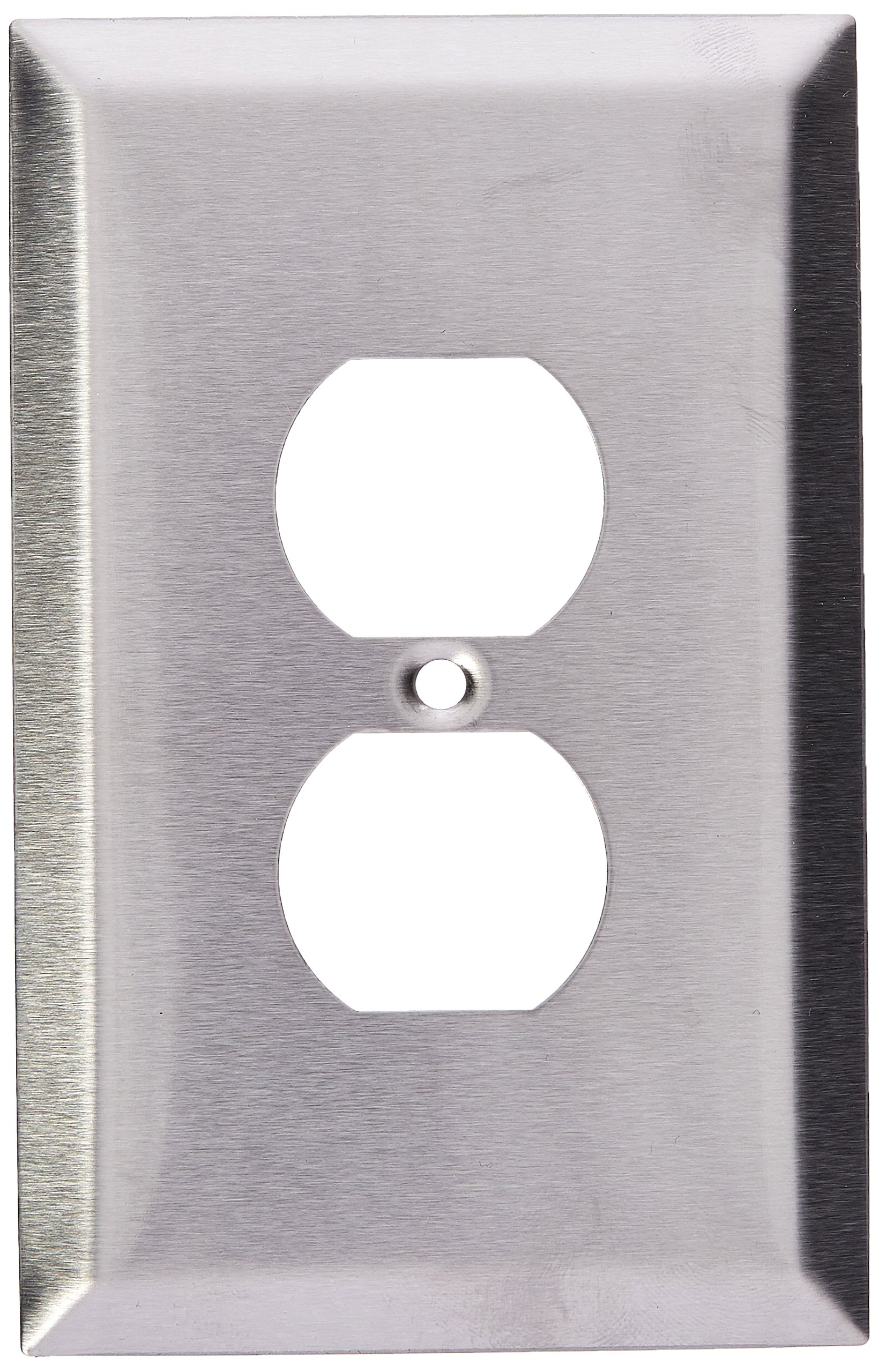 Morris 83730 430 Wall Plate, Oversize Duplex Receptacle, 1 Gang, Stainless Steel