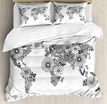 Amazon ambesonne floral world map duvet cover set king size ambesonne floral world map duvet cover set king size floral planet petals with butterflies flying gumiabroncs Images