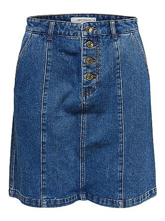 EGOMAXX Botones de Falda Vaquera de Las Mujeres Midi Jeans D2651 ...