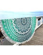 Aakriti Gallery Toalla de playa redonda, estilo mandala indio, algodón, esterilla