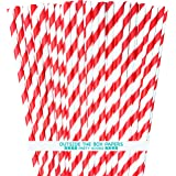 Red and White Striped Paper Straws - 7.75 Inches - Pack of 100
