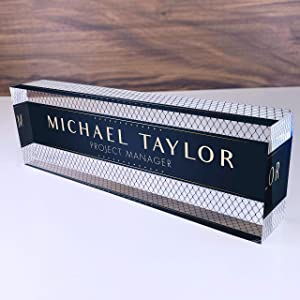 "Artblox Office Desk Name Plate Personalized | Custom Name Plates for Desks | Net Shape Design On Clear Acrylic Glass | Office Desk Decor - (8"" x 2.5"")"