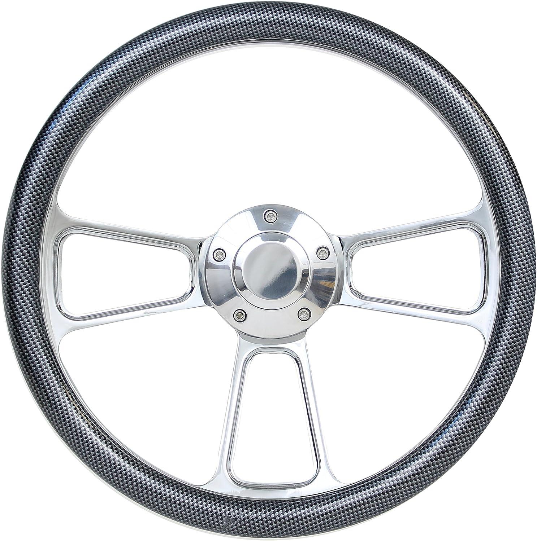 14 Billet Aluminum Carbon Fiber Half Wrap Muscle Steering Wheel for Boats