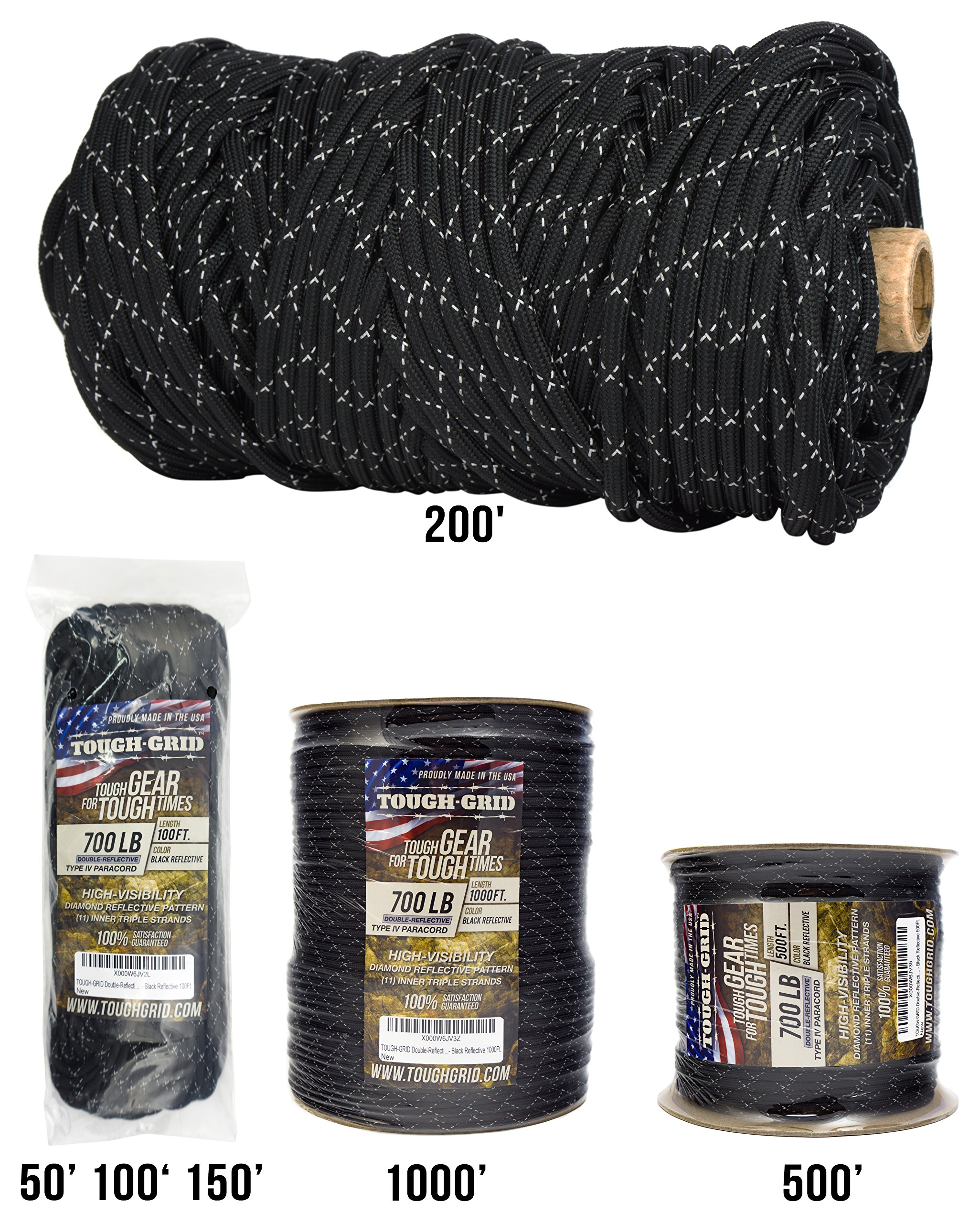 TOUGH-GRID New 700lb Double-Reflective Paracord/Parachute Cord - 2 Vibrant Retro-Reflective Strands for The Ultimate High-Visibility Cord - 100% Nylon - Made in USA. - 1000Ft. Black Reflective