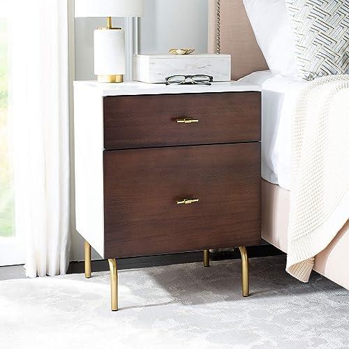 Safavieh Home Genevieve Modern Walnut and White Mahogany 2-drawer Nightstand