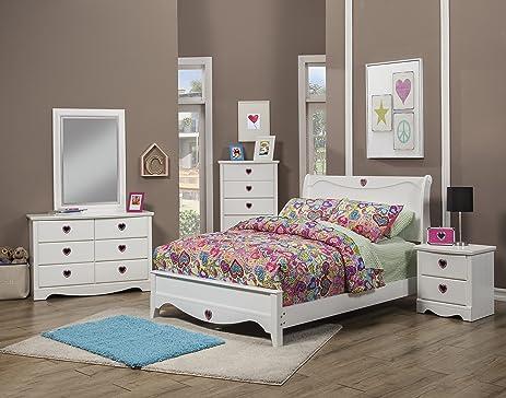 Amazon.com: Sandberg Furniture Sparkling Hearts Bedroom Set, Full ...