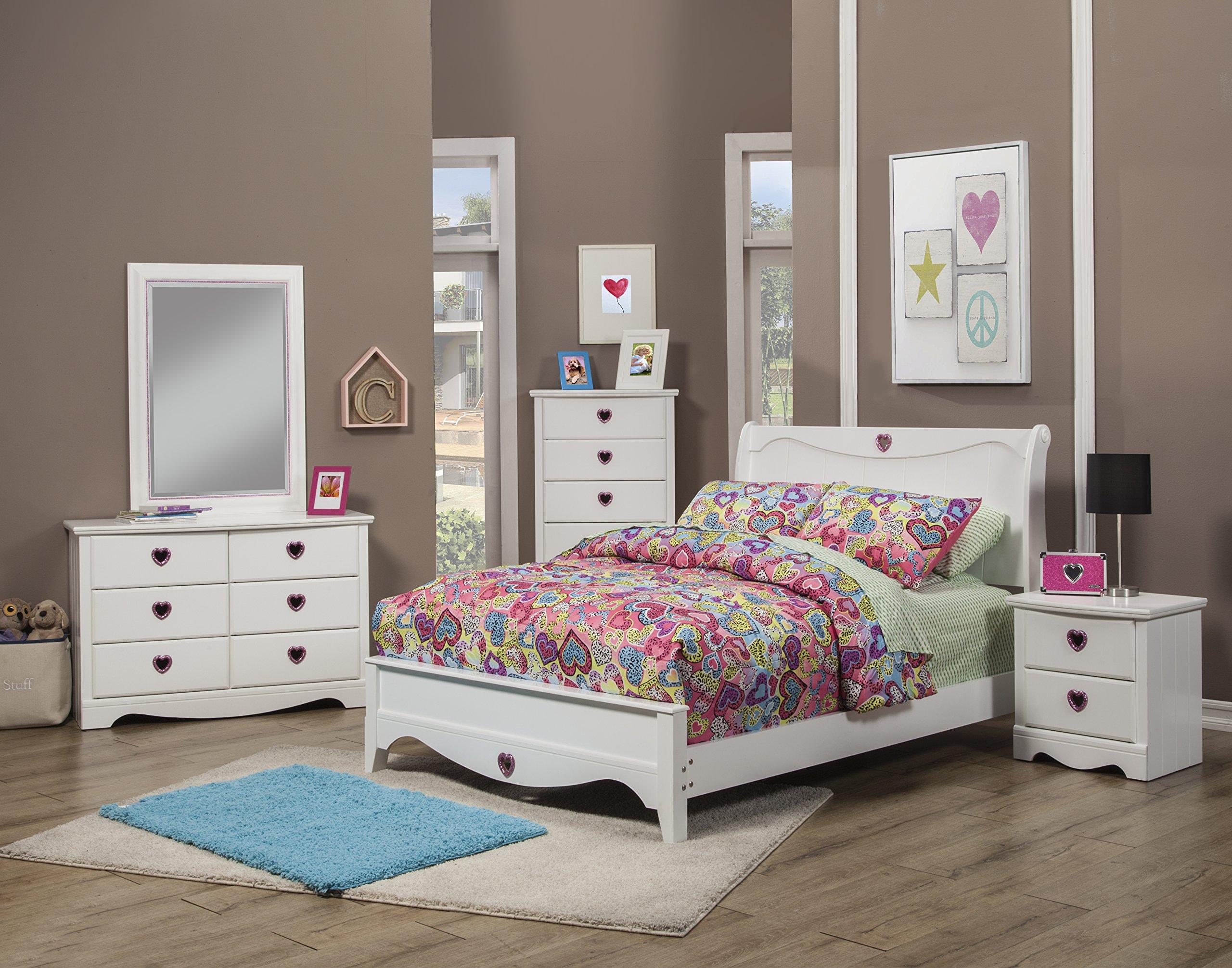 Sandberg Furniture Sparkling Hearts Bedroom Set, Full, Frost White