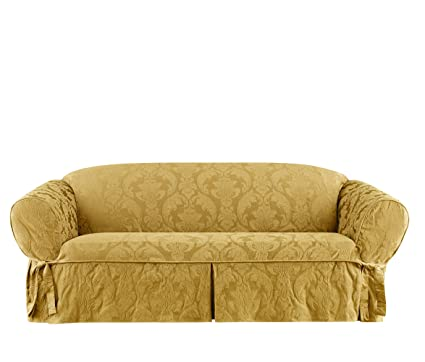 Exceptional Surefit Matelasse Damask One Piece Sofa Slipcover   Gold