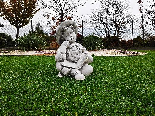 Adorno de jardín de piedra, estatua de niño leyendo un libro: Amazon.es: Hogar