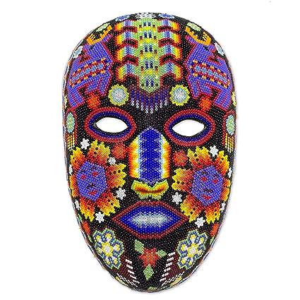 NOVICA decorativa Huichol máscara de papel maché, multicolor, ciervo con maíz azul
