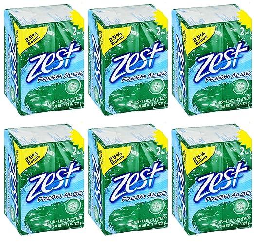 Lot of 12 Bars (One Dozen) Zest Fresh Aloe 4.0 oz/bar (2/pack x 6=12 bars)
