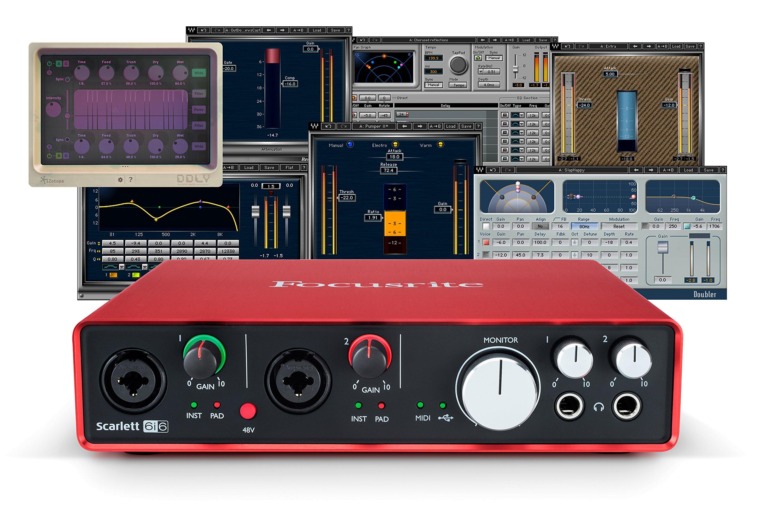 Focusrite Scarlett 6i6 (2nd Gen) USB Audio Interface + Waves Musicians 2 + iZotope DDLY Dynamic Delay
