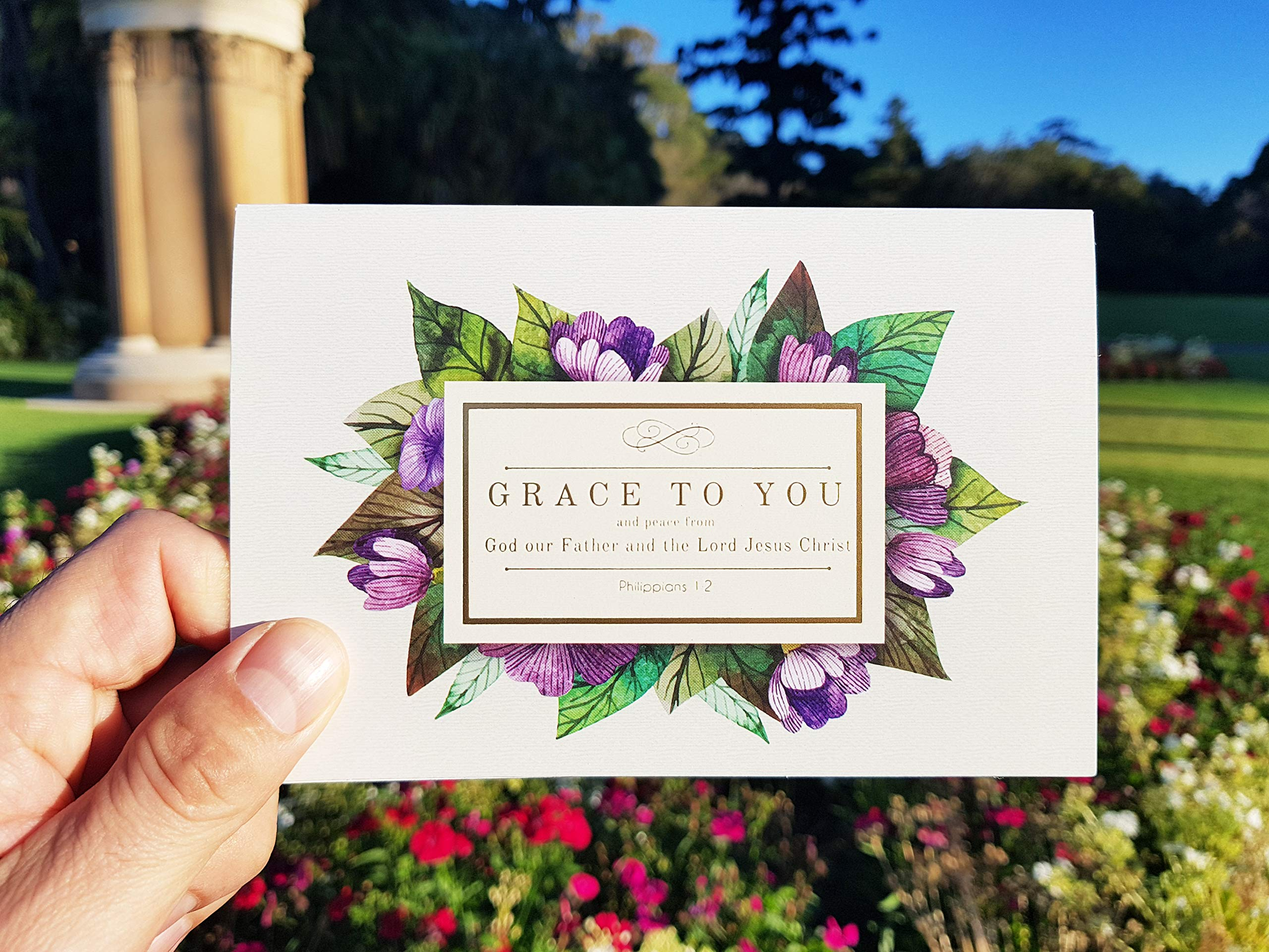 Gold foil Christian Thank You Cards with bible verses | 50 assorted 4x6 Inspirational Note Cards | Boxed Bulk ideal for Communion and Wedding | Religious Spiritual Scripture by Sleek Cards (Image #4)