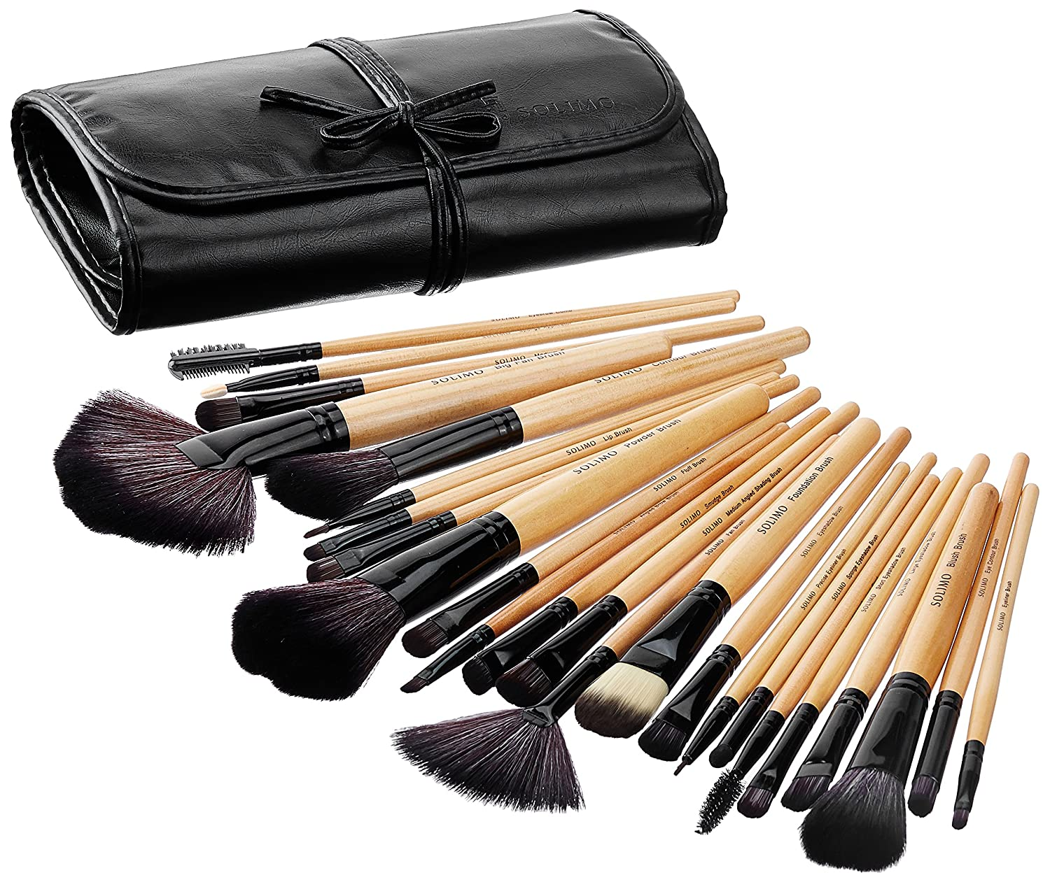 Amazon Brand - Solimo Makeup Brush Set With PU Leather Case (24 Pieces): Amazon.in: Beauty