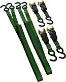 SmartStraps 145 Green 14' 1,500 lbs Capacity Padded Ratchet Tie Down, (Pack of 4)