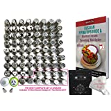 Russian Piping Tips Baking Supplies 124pcs The ONLY Cake Piping Nozzles Set with 70 Icing Nozzles 2 Coupler 50 Piping Bags In Strong Storage Box Cake Decoration Tips + Instructional Online Videos