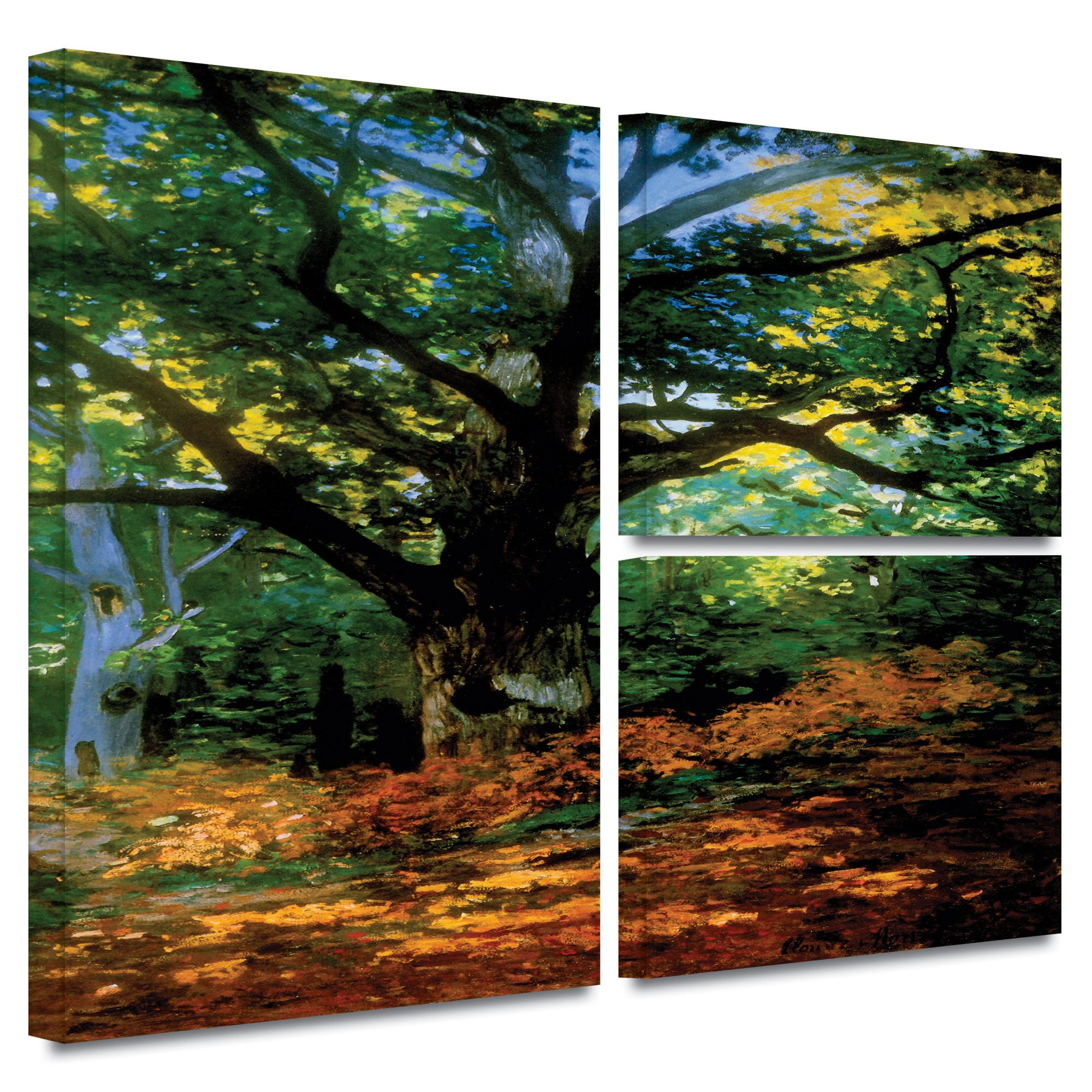 ArtWall 'Bodmer at Oak at Fontainebleau' 3-Piece Flag Gallery-Wrapped Canvas Art by Claude Monet, 24 by 36-Inch by Art Wall