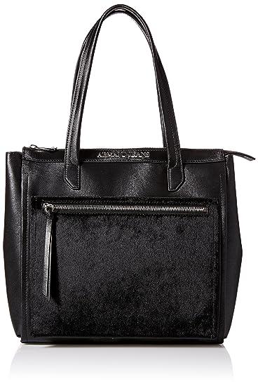 cf5bc0c44e Armani Jeans borsa donna a spalla shopping nuova originale nero: Amazon.it:  Scarpe e borse