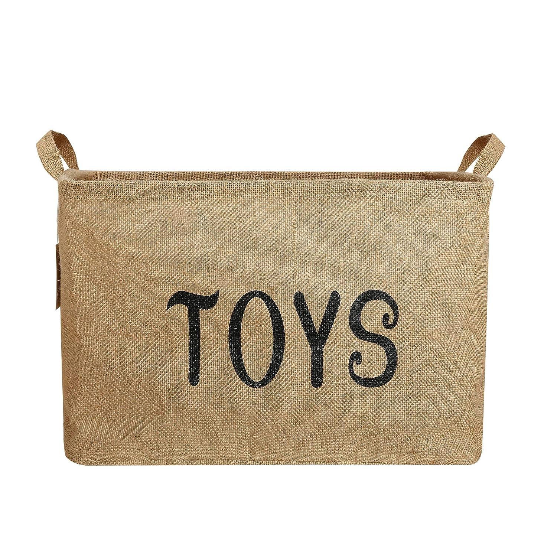ZONYON おもちゃ収納バスケット 17インチ ジャンボ 大型 折りたたみ式 収納コンテナ ベビービン ハンパーオーガナイザー ハンドル付き 男の子 女の子 子供 おもちゃ オフィス 寝室 クローゼット ギフト 黄麻布   B07FFP8NNM