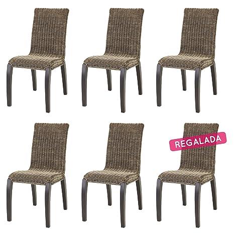 Rebajas : -46% Lote de 6 sillas de Ratan para Comedor Liga Grises ...