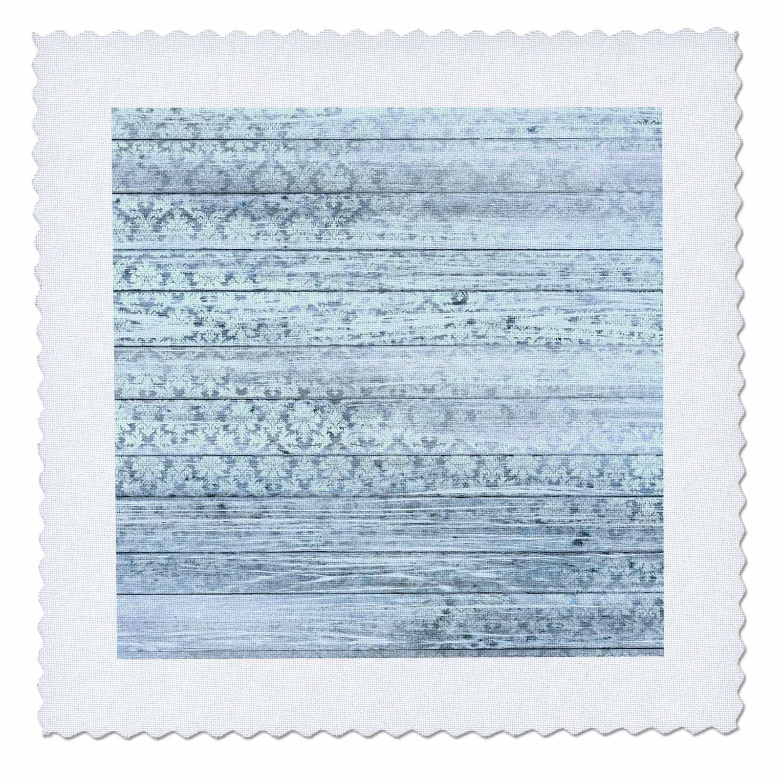 3dRose Anne Marie Baugh - Patterns - Chic Faded Damask On Printed Faux Blue Wood Pattern - 18x18 inch Quilt Square (qs_283303_7)