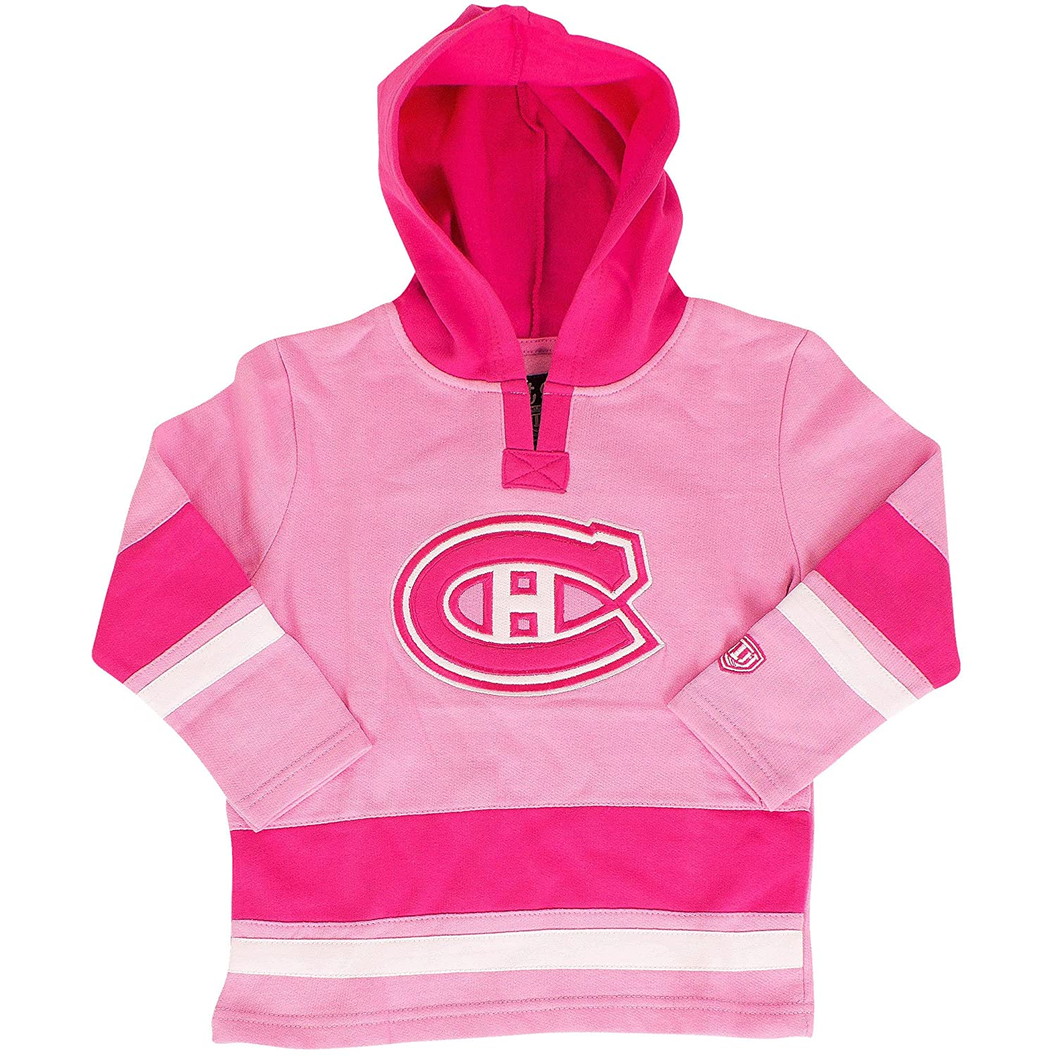 Montreal Canadiens Toddler Girls Pink Shannon Pullover Fleece Hoodie - Size 2T Old Time Hockey