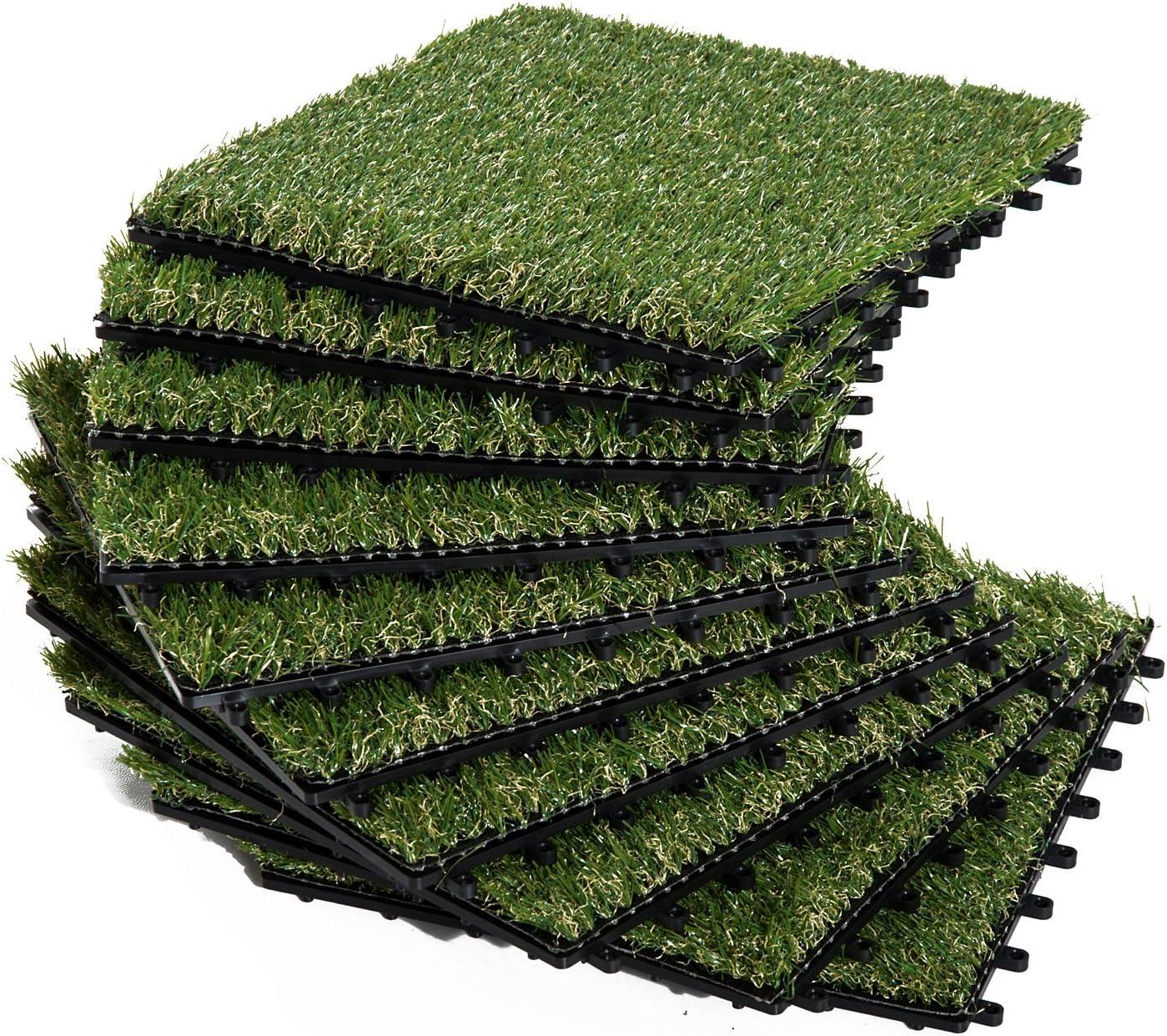 Outsunny Césped Artificial Tipo Alfombra o Estera de Hierba Sintética de Exterior Interior 30x30cm 25mm para Jardín y Terraza 10 Piezas Densidad 11000