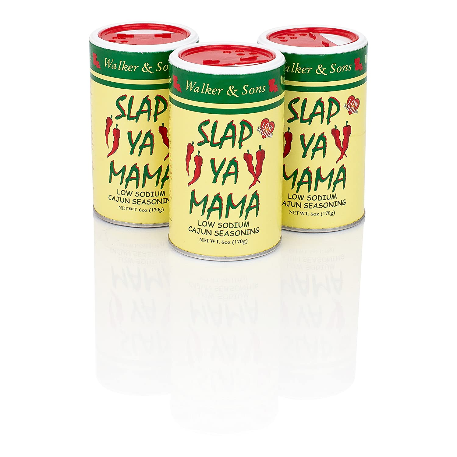 Slap Ya Mama All Natural Cajun Seasoning from Louisiana, Low Sodium Blend, MSG Free and Kosher, 6 Ounce Can, Pack of 3